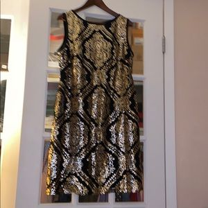 Ronnie Nicole Black and gold sequin sheath dress